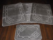 ROMANY WASHABLES TRAVELLER MATS SET 4PC NON SLIP SHACKLE SUPER THICK SILVER/GREY